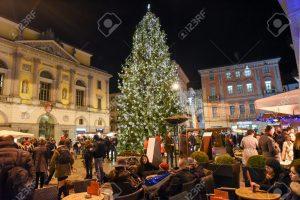 Lugano people shopping on the christmas market