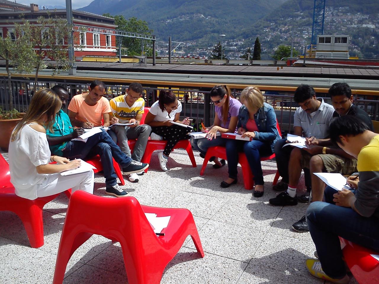 ILI students studying outside